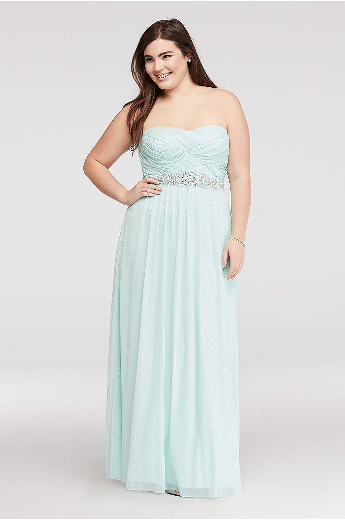 Strapless Glitter Prom Dress with Basket Detail