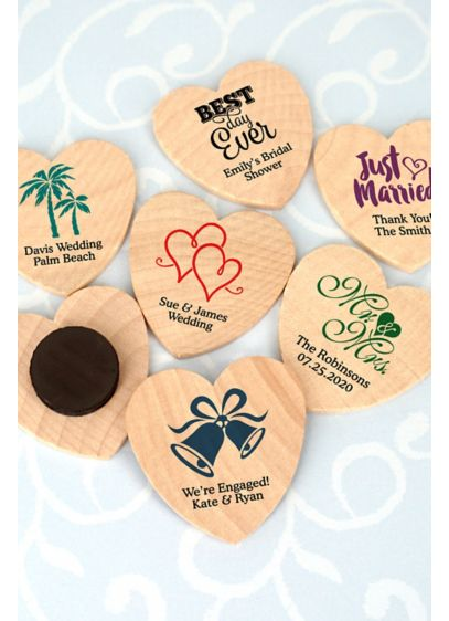 Personalized Heart Shaped Wooden Magnets - Wedding Gifts & Decorations