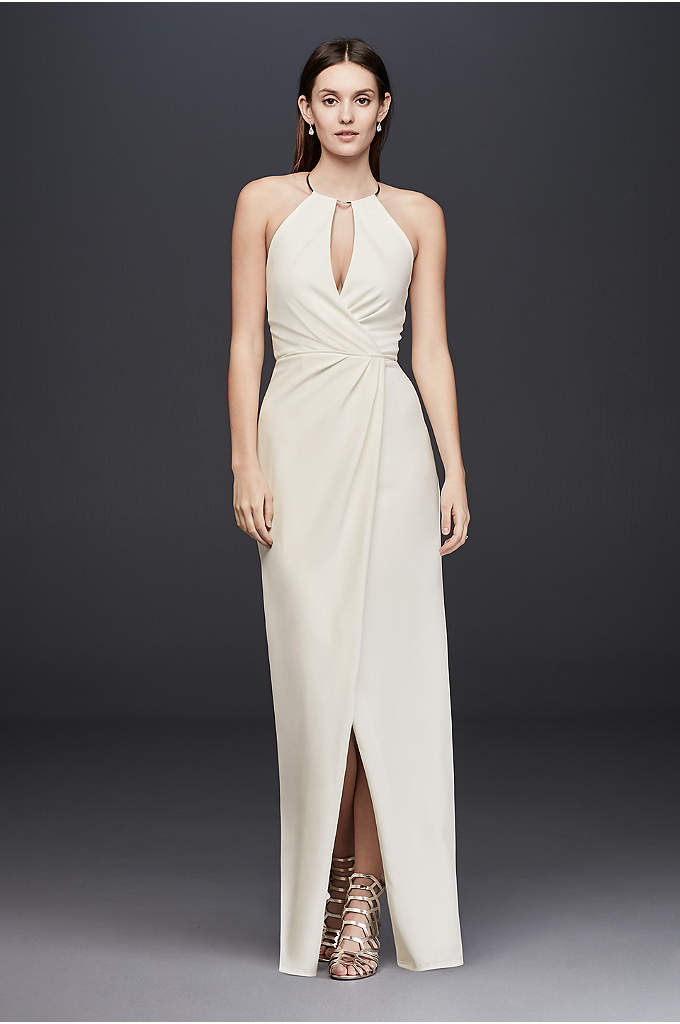 Draped Crepe Sheath Dress with Necklace Detail - A sleek gold choker forms the halter neckline