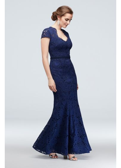 Cap Sleeve Lace Mermaid Gown with Notch Neckline - A unique notch neckline, trimmed with eyelash lace,