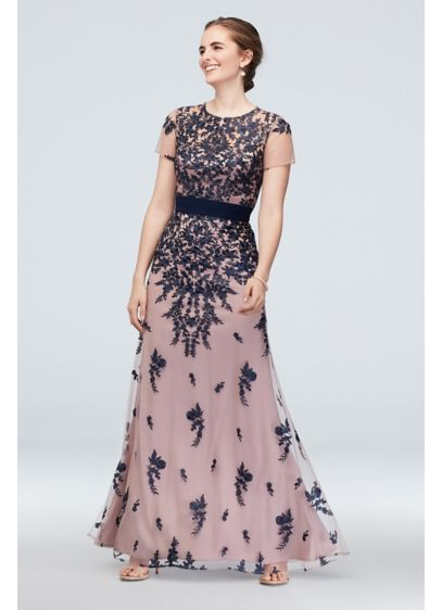 Cascading Floral Embroidery Mesh Gown with Belt - Petals, leaves, and vines cascade from the bodice