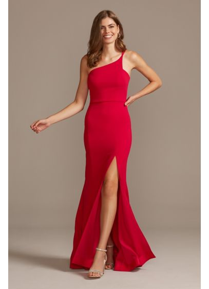 Asymmetric One-Shoulder Strappy Gown with Slit - Daring details like a thigh-high skirt slit and