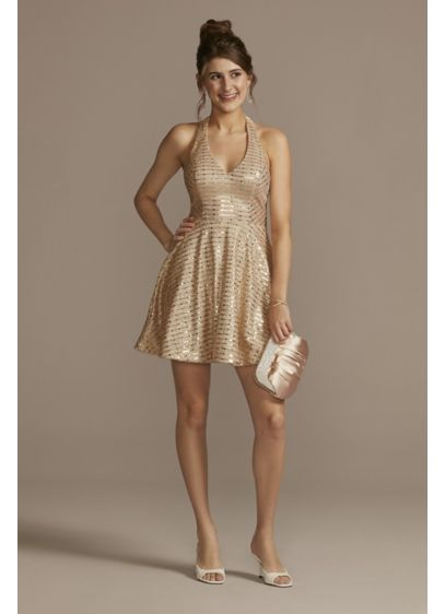 Mini Halter A-Line Dress with Plunge V-Neckline - Be the belle of the ball, queen of