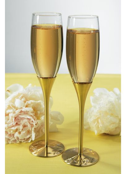 Yellow (Gold Champagne Glass Set with Swarovski Crystals)