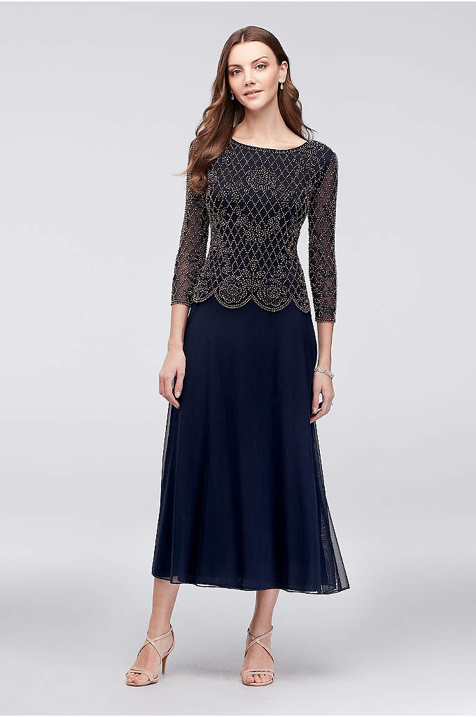 Long-Sleeve Mesh Dress with Metallic Beading - A popover-style chiffon A-line dress for the mother