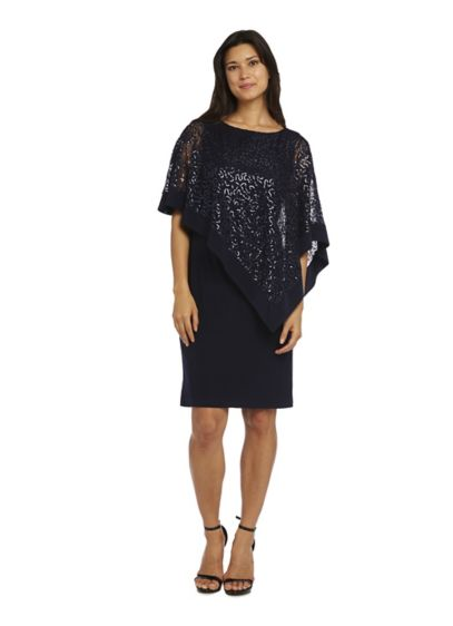 Jersey Sheath Dress with Sequin Lace Capelet - Perfect for cocktail parties or wedding receptions, this