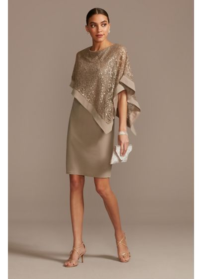 Short Sheath Capelet Cocktail and Party Dress - RM Richards
