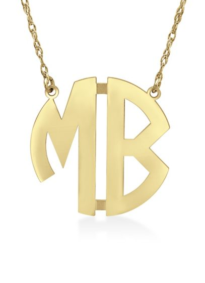 Yellow (Personalized Monogram Circle Block Letter Necklace)