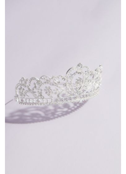 Crystal Filigree Heart Quinceanera Crown - Complete your quincea era look with this ultra-sparkly
