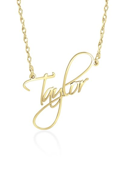 Yellow (Calligraphy Script Personalized Name Necklace)