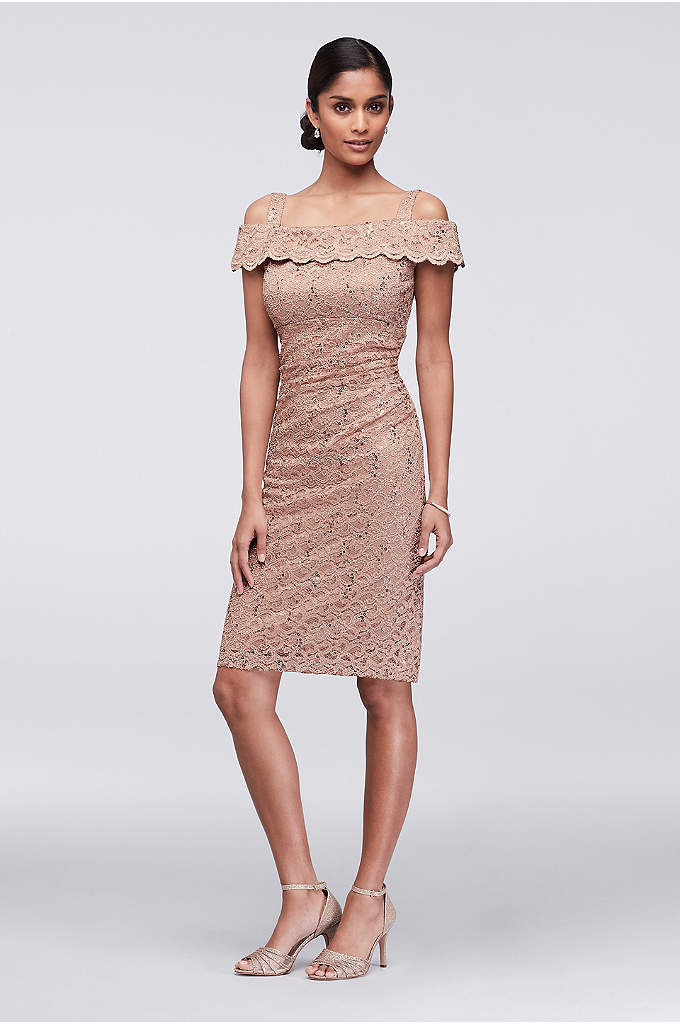 Cold-Shoulder Sequined Lace Cocktail Dress - Sparkling sequins are scattered across a sleek, stretch-lace
