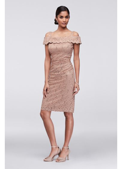 Short Sheath Off the Shoulder Cocktail and Party Dress - RM Richards