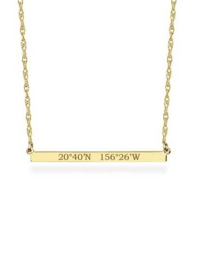 Yellow (Personalized Bar Necklace with GPS Coordinates)