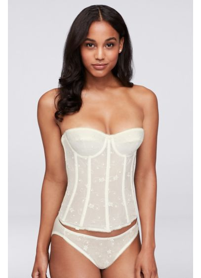 Dominique Embroidered Lace Torsolette - This super-shaping corset-style torsolette provides complete figure control,