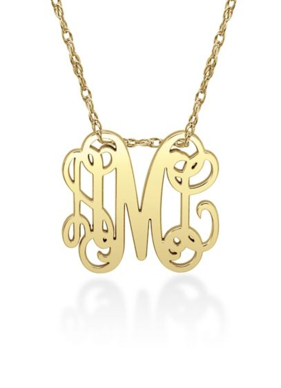 Script Personalized Monogram Pendant Necklace - Wedding Gifts & Decorations