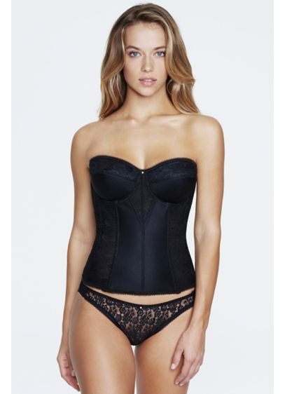 Dominique Satin and Lace Torsolette - Super shaping, longline corset-style torsolette gives excellent full-figure