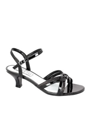 Touch Ups Black;Grey;Yellow Heeled Sandals (Melanie Metallic Low Heel Quarter Strap Sandals)