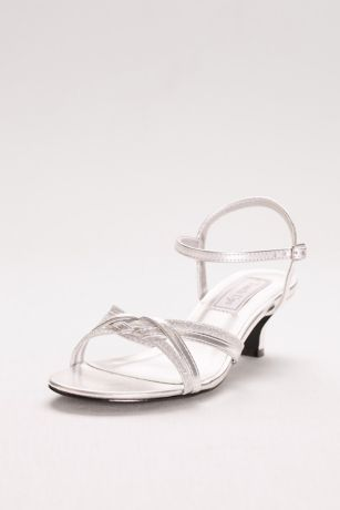 Touch Ups Black;Grey;Yellow Heeled Sandals (Melanie Metallic Low Heel Quarter Strap Sandals)
