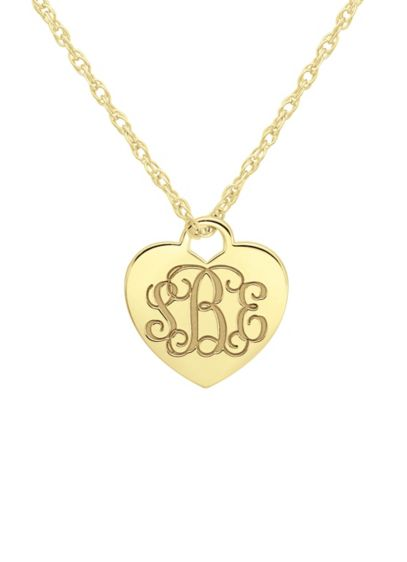 Personalized Monogram Heart Pendant Necklace - Wedding Gifts & Decorations