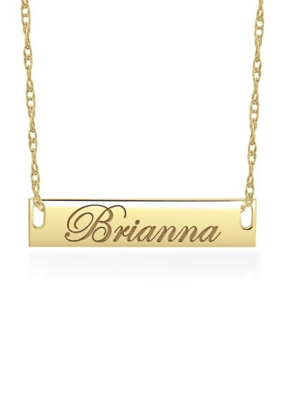 Yellow (Personalized Bar Necklace with Script Lettering)