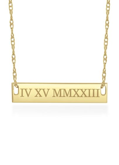Yellow (Date Personalized Bar Necklace With Roman Numerals)