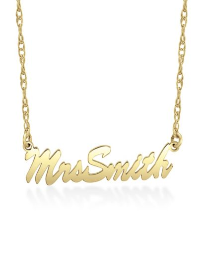 Yellow (Personalized Mrs Last Name Script Necklace)