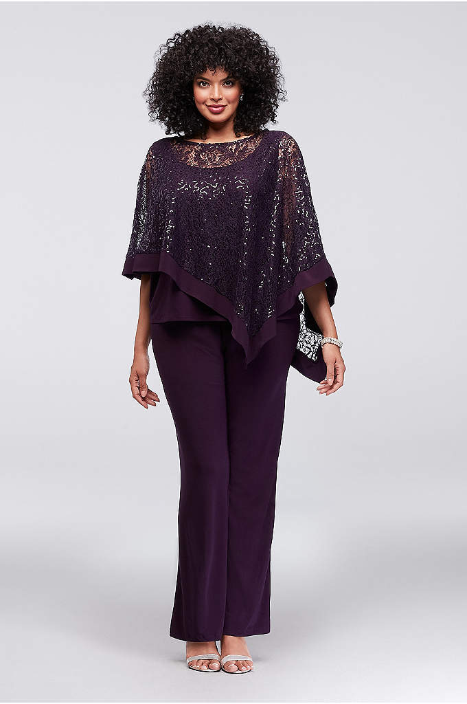 Sequin Lace Plus Size Pantsuit with Sheer Capelet - The pantsuit is a shortcut to elegance, particularly