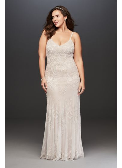 Allover Floral Beaded Plus Size Wedding Dress - Romantic and feminine, this stunning plus-size wedding dress