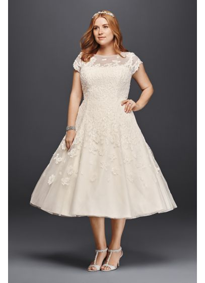 Oleg Cassini Cap Sleeve Tea Length Wedding Dress - Take short and sweet to a whole new
