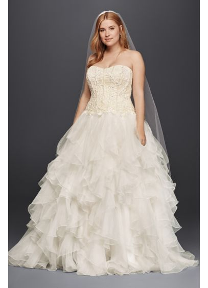 Oleg Cassini Organza Ruffle Skirt Wedding Dress - Picture your guests' reactions when you arrive in