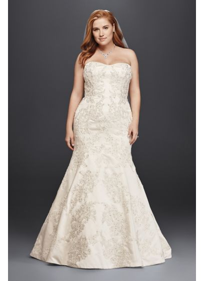 843dda143d56 Oleg Cassini Satin Trumpet Wedding Dress with Lace | David's Bridal