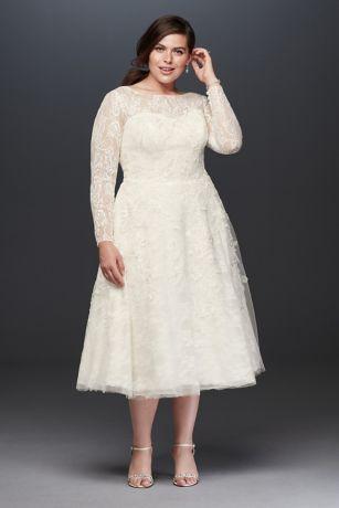 Oleg Cassini Long Sleeved Tea Length Wedding Dress   David ...