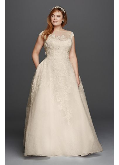 Oleg Cassini Cap Sleeve Plus Size Wedding Dress