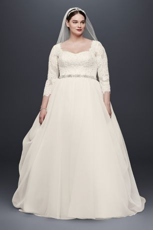Oleg Cassini Plus Size Organza 3/4 Wedding Dress | David\'s Bridal