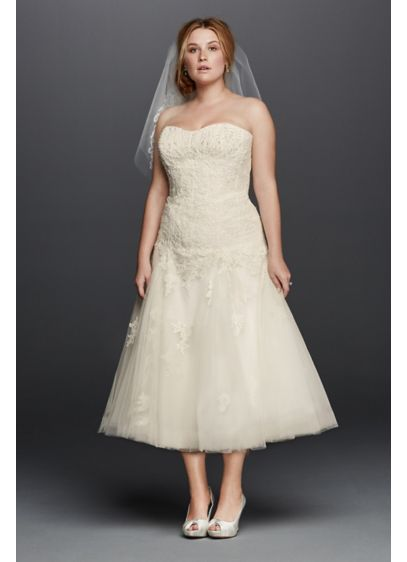 Oleg Cassini Tea Length Plus Size Wedding Dress