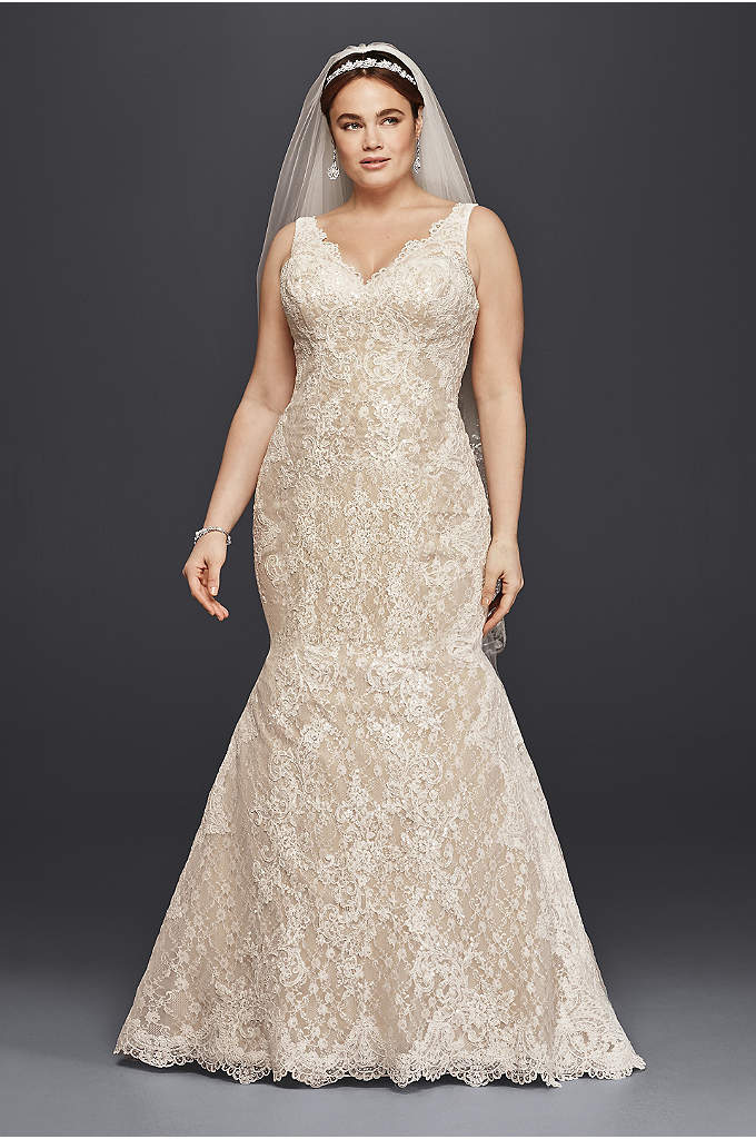Oleg Cassini Plus Size Lace Trumpet Wedding Dress - Head-to-toe lace is the star of this trumpet