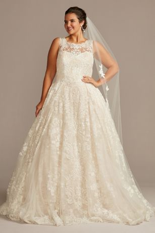 Lace Plus Size Wedding Dress with Pleated Skirt | David's Bridal | Tuggl
