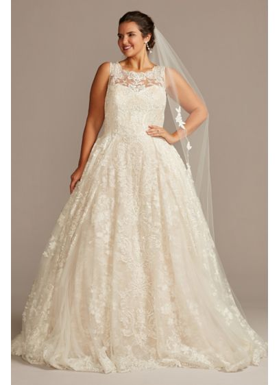 Lace Plus Size Wedding Dress with Pleated Skirt - Yards of opulently beaded and appliqued tulle create