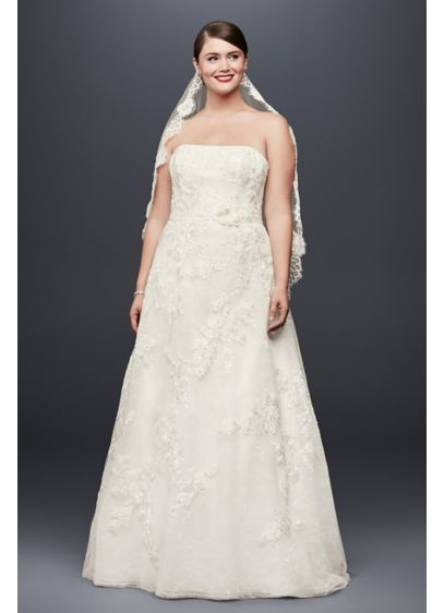 Lace Appliqued Plus Size Wedding Dress and Topper - This embellished strapless A-line wedding gown from Oleg