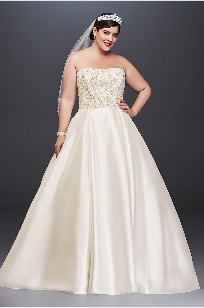 Crystal Encrusted Mikado Plus Size Wedding Dress - The height of wedding day opulence, this Oleg