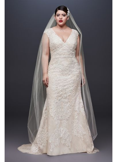Cap Sleeve Plunging V-Neck Plus Size Wedding Dress - Opulent in every way, this Oleg Cassini sheath