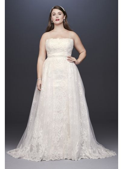 Lace Plus Size Sheath Wedding Dress with Overskirt - This elegant lace wedding dress is two dresses