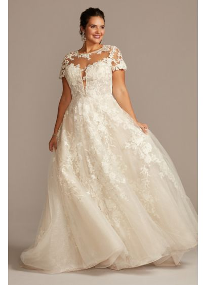 Cap Sleeve Lace Illusion Plus Size Wedding Dress - Luxurious beaded lace cascades over a shimmering metallic