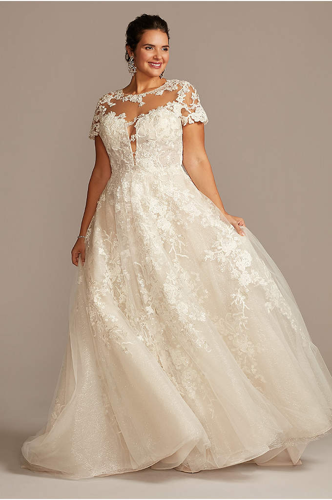 Cap Sleeve Lace Illusion Plus Size Wedding Dress