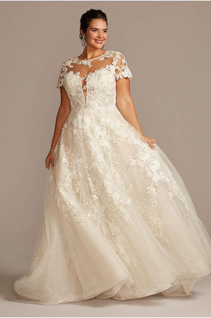 White//Ivory Lace Wedding Bridal Dress Ball Gown Short Sleeve Custom Plus Size