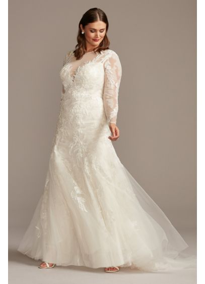 Illusion Beaded Floral Plus SizeWedding Dress - An opulent wedding dress that feels comfortable? Believe