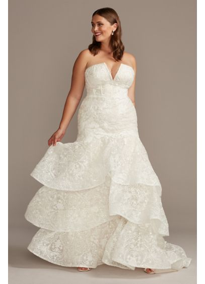 Notch-Neck Lace Mermaid Plus Size Wedding Dress - Crafted of scrolling baroque lace from the corset-boned