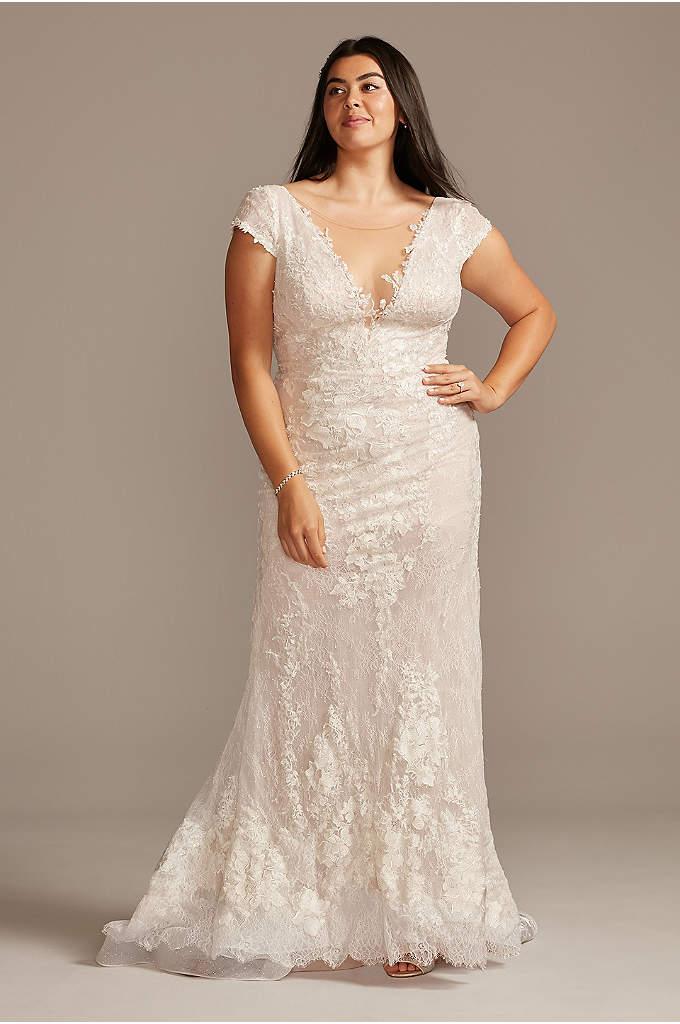 Chantilly Lace Cap Sleeve Plus Size Wedding Dress