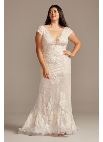 Chantilly Lace Cap Sleeve Plus Size Wedding Dress - Allover Chantilly layered lace gives this illusion cap