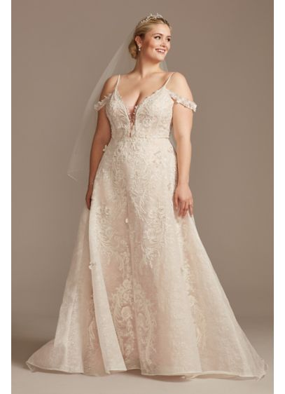Beaded Applique Plus Size Wedding Dress with Swags - 3D-floral appliques and intricate beaded lace embellishments cover